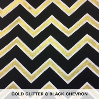 Gold Glitter & Black Chevron