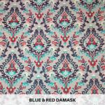 Blue & Red Damask
