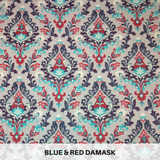 Blue & Red Damask
