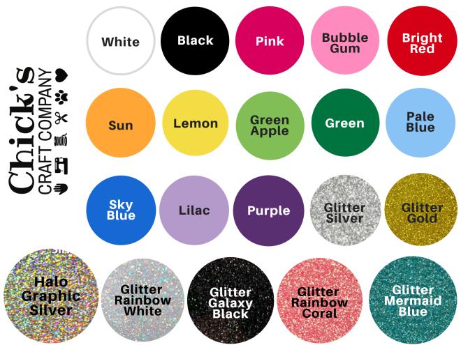 Vinyl Text Color Chart
